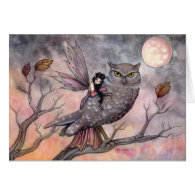 Owl and Fairy Greeting Card