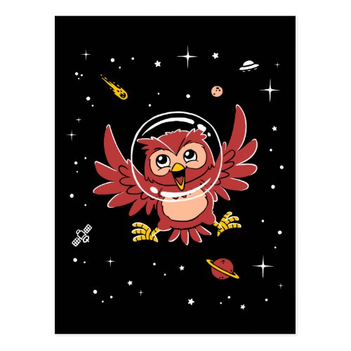 Owl Animals In Space Postcard