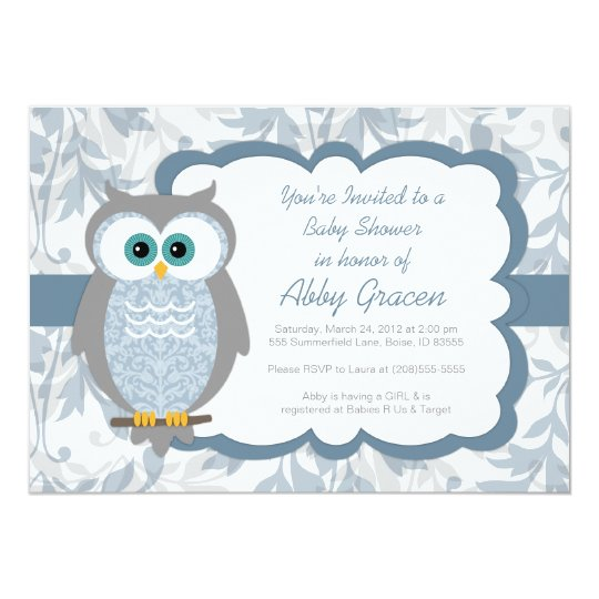 Owl Baby Shower Invitations For Boys Blue 830