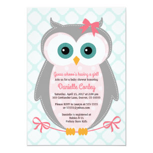Owl Baby Shower Invitations For S Mint Pink