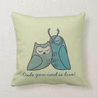 Owl Couple Cuddling Throw Pillows | Zazzle