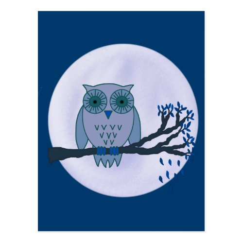 Owl in the Blue Moonlight. Postcard