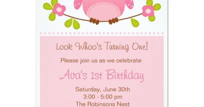 Owl Invitation 1st Birthday Baby Shower Zazzle Com