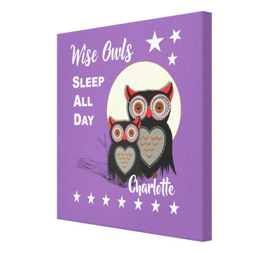 Owl Lovers Super Cute Funny Personalized Canvas Print
