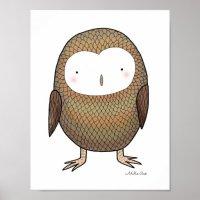 Owl Nursery Art Print Cute Owl Nursery Wall Decor | Zazzle