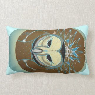 icy blue winter barn owl pillow