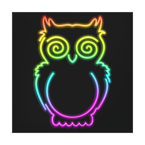 Owl Psychedelic Neon Light Canvas Print