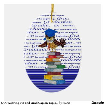 Owl Wearing Tie and Grad Cap on Top of Books, Grad Ceramic Ornament