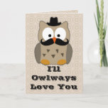 Owl with Mustache Valentine's Day Holiday Card