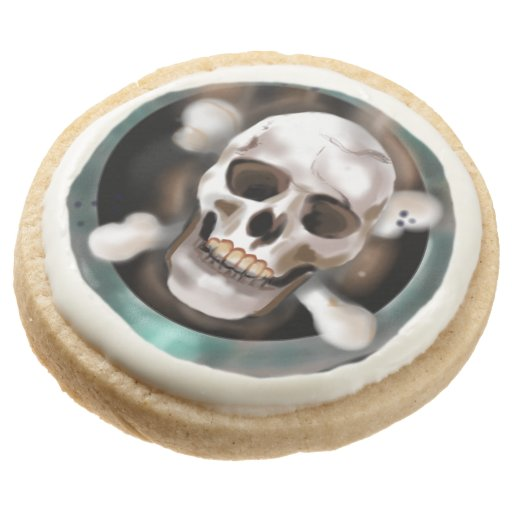 Pack of 4 Skull & Crossbones Hardtack Biscuits Round Shortbread Cookie