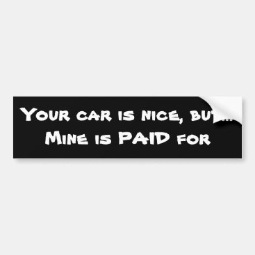 Paid off car bumper sticker