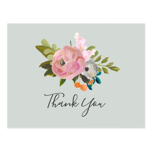 Painted Floral Thank You Postcard