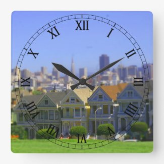 Painted Ladies in San Francisco (Tilt & Shift) Square Wallclocks