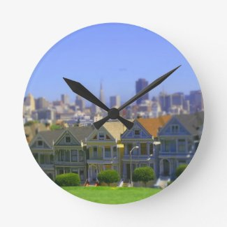 Painted Ladies in San Francisco (Tilt & Shift) Wall Clock