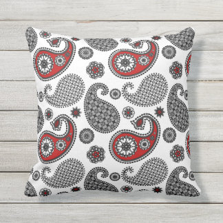 White And Navy Blue Paisley Sham Pillow Cover Contemporary