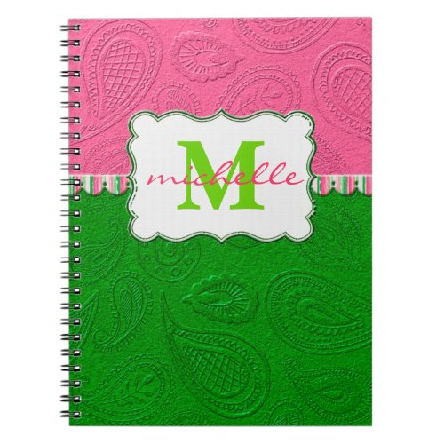 Paisley Pattern Monogram Spiral Notebook
