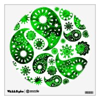 Paisley with Green Swirl Pattern. Wall Decal | Zazzle