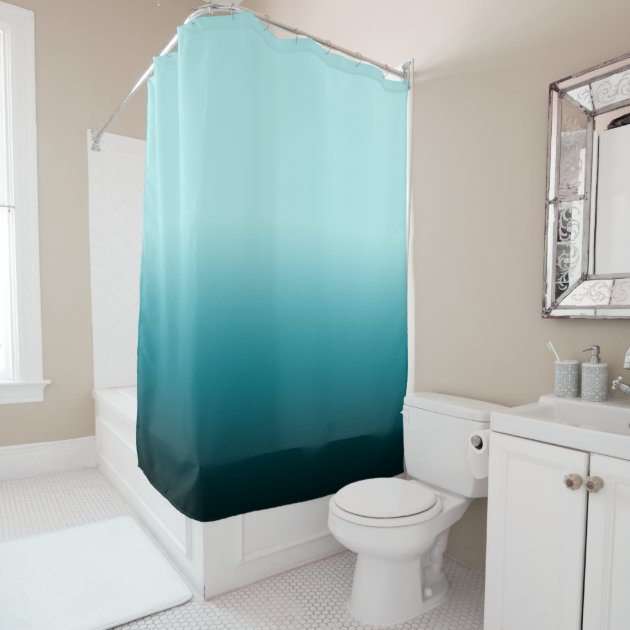 Pale Turquoise Dark Blue Teal Color Block Ombre Shower Curtain Zazzle Com