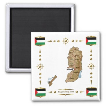 Palestine Map   Flags Magnet