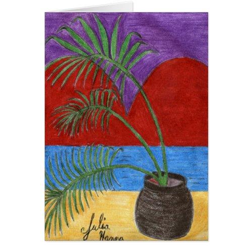 Palm Tree Heart Card by Julia Hanna card