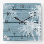 Palm Trees and Sand Dollars Blue Rustic Wood Beach Square Wall Clock