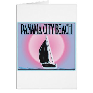 Panama City Beach Airbrushed Look Boat Sunset Greeting Cards
