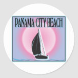 Panama City Beach Airbrushed Look Boat Sunset stickers