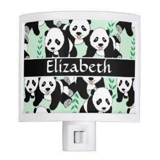Panda Bears Graphic Pattern to Personalize Night Light