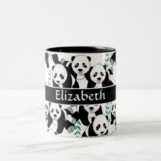 Panda Bears Graphic Pattern to Personalize Coffee Mugs