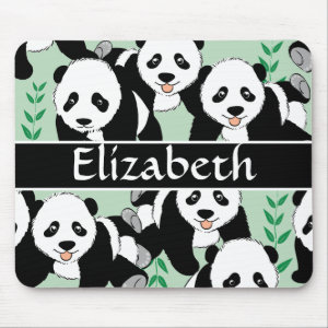 Panda Bears Graphic to Personalize Mouse Pad