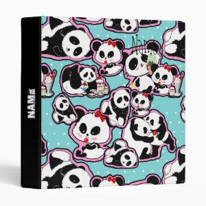 Panda Doodles Kawaii 3 Ring Binder