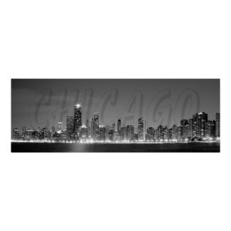 Panoramic Poster of the Chicago Skyline at Night