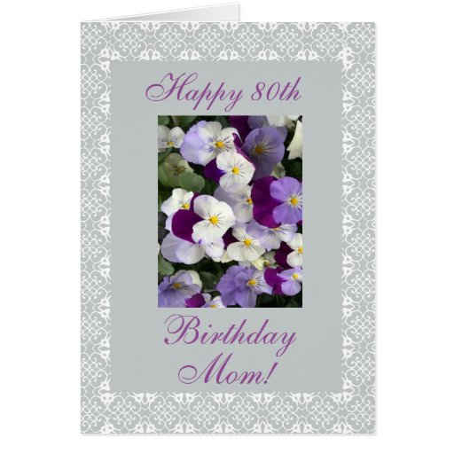 Pansies Mother's 80th Birthday Card Zazzle