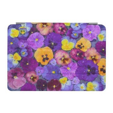 Pansy flowers floating in bird bath with dew iPad mini cover