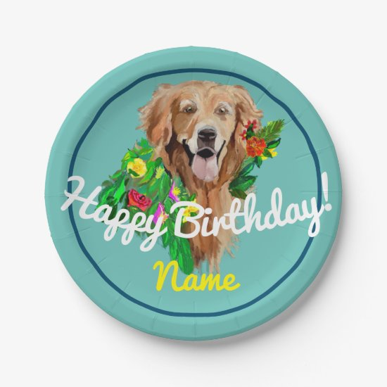 Paper Plate Happy Birthday Golden Retriever