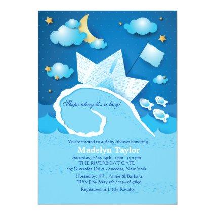 Paper Sail boat Baby Shower Invitation
