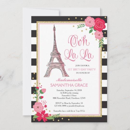 paris birthday invitation paris birthday invite zazzle com