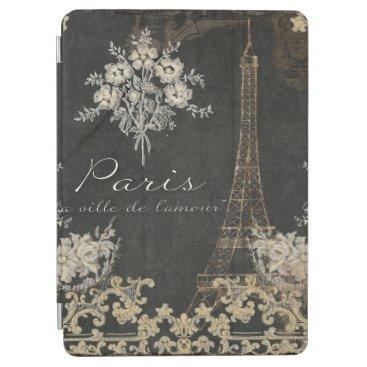 Paris City of Love Eiffel Tower Chalkboard Floral iPad Air Cover