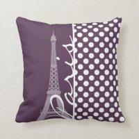 Paris; Eggplant Purple Polka Dots Throw Pillows