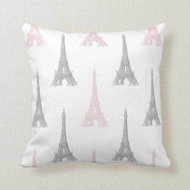 Paris Eiffel Tower Pink Gray White Throw Pillow  Zazzle