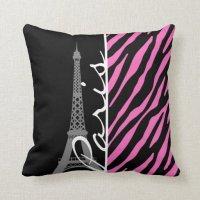Paris; Pink & Black Zebra Print Throw Pillows
