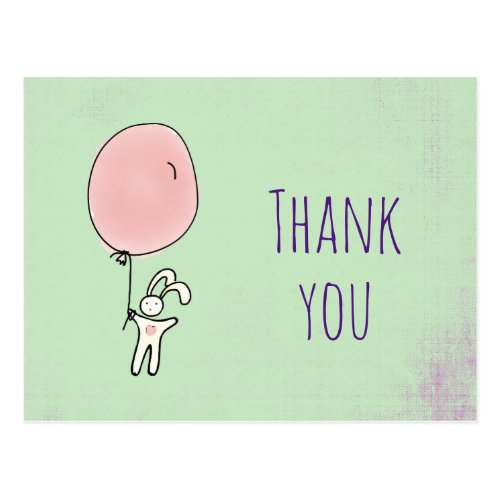 Party Thank You Cute Bunny Holding a Balloon Postcard