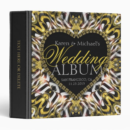 Passion Heart Gold Black Wedding Album Binder
