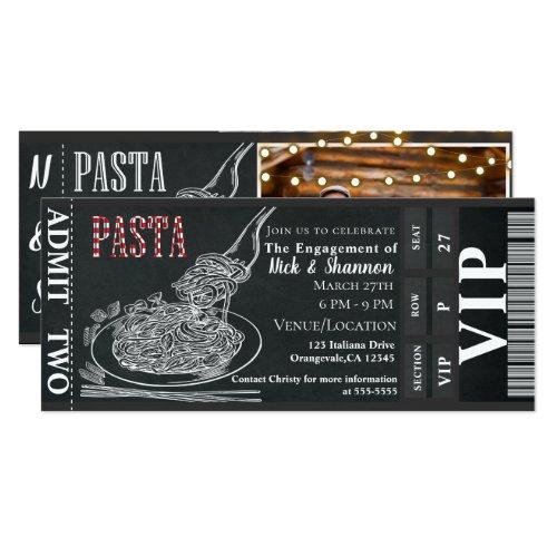 Pasta Dinner Chalk Engagement Dinner Photo Ticket Invitation