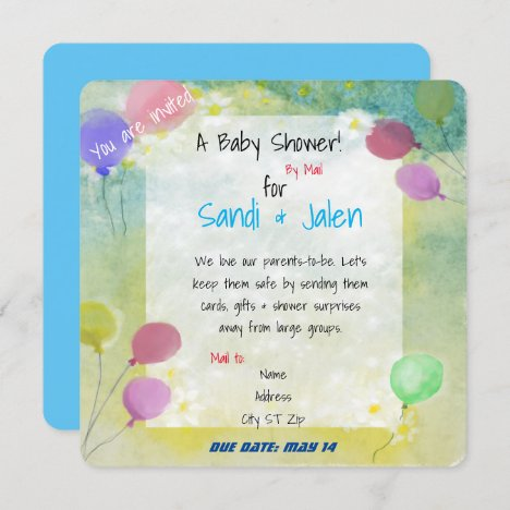 Pastel Balloons Baby Shower by Mail Watercolor