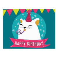 Pastel birthday wish with cartoon illustration postcard