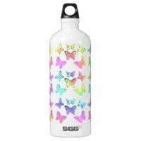 Pastel Butterflies Swirl Pattern Aluminum Water Bottle