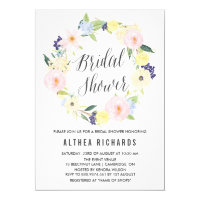 Pastel Floral Wreath Bridal Shower Invitation