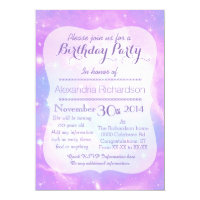 Pastel Galaxy space birthday Card
