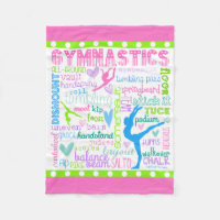 Pastel Gymnastics Words Typography Fleece Blanket